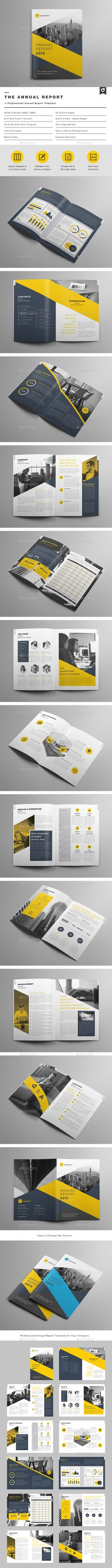 Annual report template. This layout is suitable for any project purpose. Very easy to use and customise.Features :- 2 sizes: A4 & US letter- 24pp Indesign Document- .IDML file Included- Vector infographics Included- 6 / 12 Content Column Grid- Mast…