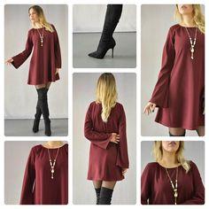 Stay classy!!! Γυναικείο μπορντό φόρεμα με κολιέ σε γραμμή άλφα. Διαθέσιμο σε 3…