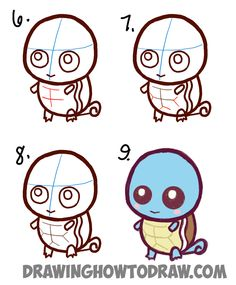How to draw cute baby chibi squirtle step by step drawing tutorial