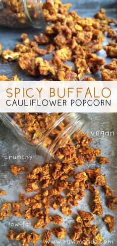 Spicy Buffalo Cauliflower Popcorn Easy raw vegan spicy buffalo cauliflower popcorn recipe Use a dehydrator or oven at its lowest temperature to make a healthy crunchy sav. Lunch Snacks, Savory Snacks, Vegan Snacks, Vegan Dinners, Vegan Lunches, Cauliflower Popcorn, Buffalo Cauliflower, Spicy Cauliflower, Popcorn Recipes