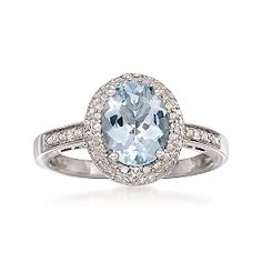 1.50 Carat Aquamarine Ring With Diamonds in Sterling Silver