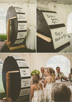 """giant wheel wedding game idea - """"bride & groom kiss"""", """"pick a couple to kiss"""", """"give your date a smooch"""", """"show us your best dance moves"""", tell us a story about the bride & groom"""", """"give some marriage advice to the newlyweds"""""""