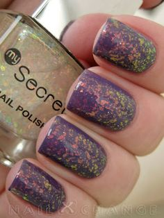 Aubergine purple and green to orange flakies.........nice combo