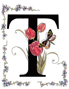 Tulip And Tiger Pierid Butterfly Painting by Stanza Widen