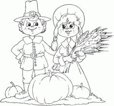 Pilgrim Thanksgiving Harvest Coloring Pages