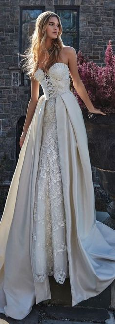Weddbook ♥ Couture Wedding Dress by Galia Lahav. Le Secret Royal- a beautiful dress with gorgeous front design and the net design is enhancing the beauty of the dress. You will love to wear on your wedding day Ball Dresses, Bridal Dresses, Ball Gowns, Event Dresses, Long Dresses, Color Wedding Dresses, Cream Colored Wedding Dress, Couture Dresses Gowns, Bridesmaid Dresses