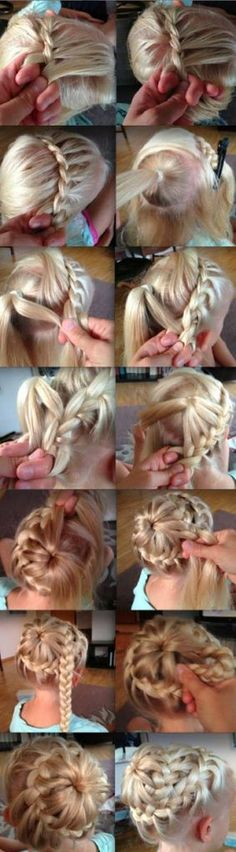 Christy we need to do this to your hair! how to do a starburst braid - step-by-step guide Easy Bun Hairstyles, Pretty Hairstyles, Wedding Hairstyles, Frozen Hairstyles, Updos Hairstyle, Homecoming Hairstyles, Everyday Hairstyles, Hairstyle Ideas, Starburst Braid
