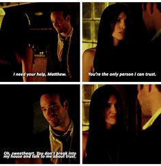 """Oh, sweetheart. You don't break into my house and talk to me about trust"" - Matt and Elektra #Daredevil [[ Their chemistry could power a small town :)) ]]"
