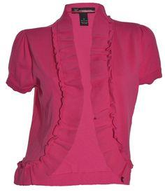 INC International Concepts Ruffle Shrug Sweater M Top SS Open Cardigan Pink NEW #INCInternationalConcepts #Shrug
