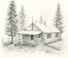 Little Log Cabin Pencil Drawing