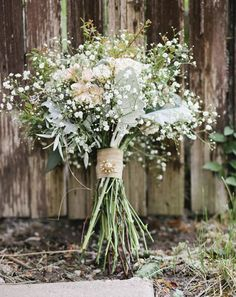 Bridesmaids - Baby's Breath, Seeded Eucalyptus, Dusty Miller, Stock and Spray Roses. Maid of honor bouquet. Wedding Flower Arrangements, Flower Bouquet Wedding, Floral Wedding, Fall Wedding, Rustic Wedding, Dream Wedding, Flower Bouquets, Cheap Flowers For Wedding, Wedding Ideas