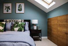 Farrow & Ball Oval Room Blue, palm leaves, calming loft bedroom