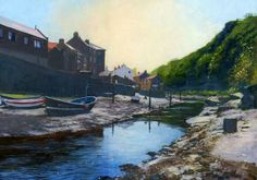 James McGairy paints 'Staithes Spring'