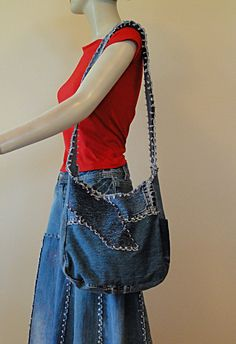 Essentials Denim Shoulder Bag Upcycled Denim by DenimDiva2day