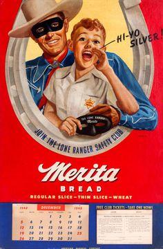 1948 Lone Ranger for Merita Bread Vintage Look Metal Sign Retro Advertising, Vintage Advertisements, Vintage Ads, Vintage Prints, Vintage Looks, Retro Ads, Dita Von Teese, Vintage Calendar, Pin Up