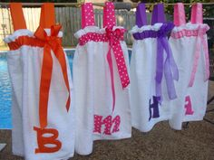 Items similar to Swimsuit Cover-Up / Spa Wrap Personalized Choose your ribbon color on Etsy Kids Spa Party, Spa Birthday Parties, Pamper Party, Pool Parties, Sewing Crafts, Sewing Projects, Towel Wrap, Ribbon Colors, Swimsuit Cover