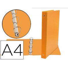 Carpeta de 4 anillas de 40 mm A4 forrada en plastico color naranja