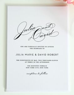 Classy, simple, elegant wedding invitations