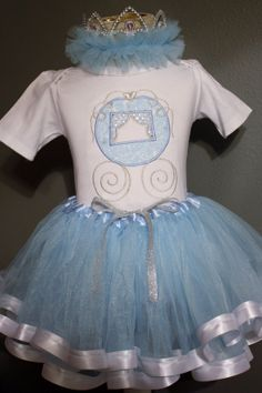 Cinderella ribbon trimmed sewn tutu set with princess crown----girls birthday or halloween costume on Etsy, $40.00