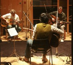 Paul Wassif, Eric Clapton and Bert Jansch at Metropolis Studios, 25th May 2009, recording 'Southbound Train' and 'Please Don't Leave' featuring on Paul Wassif's debut album 'Looking Up Feeling Down'.