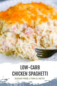 This classic keto low carb casserole makes an easy and healthy dinner recipe. Creamy, cheesy, and so simple to make, this Low Carb Chicken Spaghetti uses spaghetti squash and is made without canned so Chicken Spaghetti Recipes, Low Carb Chicken Recipes, Healthy Low Carb Recipes, Low Carb Dinner Recipes, Keto Dinner, Low Carb Keto, Keto Recipes, Cooking Recipes, Chicken Spaghetti Squash
