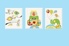 NURSERY ART PRINTS, Set of 3, Baby Boy Nursery Prints, Green Nursery Art, Owl, Birds, Elephant, Nursery Wall Decor, Toddler Boy Decor. $48.00, via Etsy.