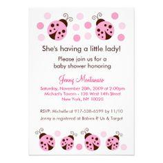 823167e09242 Mod Ladybug Pink Brown Dots Baby Shower Invitation Mariquitas