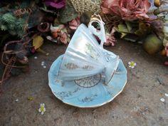 Tea Cup Saucer Blue Light Iridescent Made in par LesMemoiresdeLuna