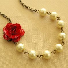 """Red rose and cream pearl bridesmaids necklace, from Etsy """"luxedeluxe"""""""