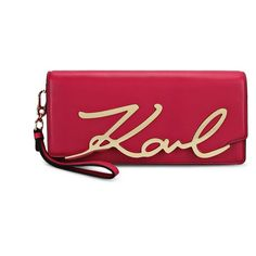 Karl Lagerfeld K/Signature Clutch (270 CHF) ❤ liked on Polyvore featuring bags, handbags, clutches, cherry, cherry purse, flap purse, karl lagerfeld, handbag purse and karl lagerfeld handbags