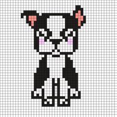 Dog Boston Terrier Brik Pixel Art Designs Crochet