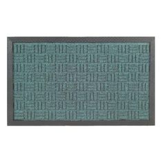 Greet your guests with a tastefully functional rubber mat in green with black trim. A beautiful woven design highlights this stylish door mat.