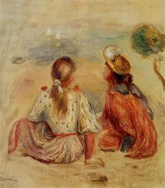 Young Girls on the Beach, 1898 by Pierre-Auguste Renoir, Later Years. Impressionism. genre painting. Private Collection