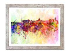 Dublin skyline in watercolor background - SKU 0075