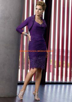 Kurz Abendkleider lila aus Taft im Kolumnestil mit Bolero online 2013
