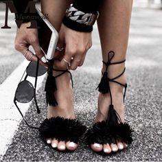 Women Summer Shoes Gladiator High Heel Sandals 2016 Fashion Brand Tassels Sandlias Blue Red Sexy Ladies Shoes size 35-40 Z1216 alishoppbrasil
