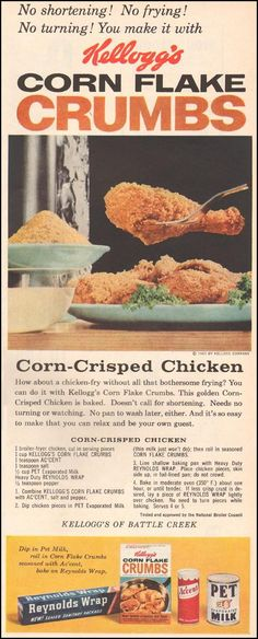 Corn-Crisped Chicken KELLOGG'S CORN FLAKE CRUMBS BETTER HOMES AND GARDENS 03/01/1960 p. 97