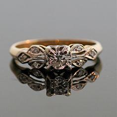 Antique Engagement Ring - 14k and 18k Gold. $1,195.00, via Etsy.
