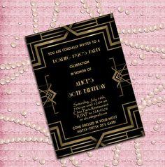 Great Gatsby Style Art Deco Birthday Party Invitation by StudioDMD, $12.00
