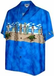 Boards on the Beach - Boys Hawaiian Aloha Shirt in Blue