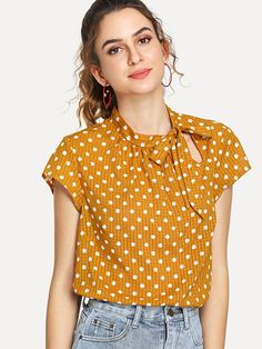 SheIn offers Cutout Tie Neck Polka Dot Top & more to fit your fashionable needs. Blouse Styles, Blouse Designs, Mode Outfits, Sewing Clothes, Designer Kurtis, Polka Dot Top, Shirt Blouses, T Shirt, Fashion News
