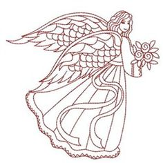 Sweet Heirloom Embroidery Design: Redwork Love Angel 3.67 inches H x 3.80 inches W
