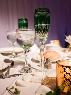 Emerald green ombre glassware at vintage wedding reception Great Gatsby Themed Wedding, Dream Wedding, Wedding Dreams, Wedding Reception, Theme Ideas, Emerald Green, Tableware, Food, Modern