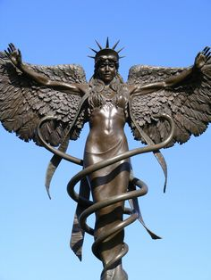 The Hermetic Library Ishtar Angel Caduceus Statue Bronze Sculpture, Sculpture Art, Snake Totem, Statue Ange, Double Headed Eagle, Gods And Goddesses, Oeuvre D'art, Deities, Mythology