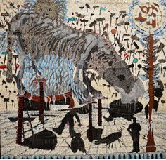 OMAR BA Vent provenant du Nord, Pays du Sud, Pillage à huis Clos, 2014 oil, gouache, ink and pencil on corrugated carton #omarba