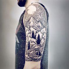 Imaginative Half-Sleeve Landscape Tattoos by Lisa Orth. http://illusion.scene360.com/art/109307/lisa-orth/