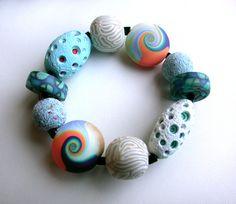 Bead Bracelets – Polymer Clay Bracelet Sea Mix – a unique product by Silvia-Ortiz-de-la-Torre on DaWanda