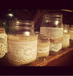 Burlap and lace - cute for outdoor wedding or rehearsal dinner!