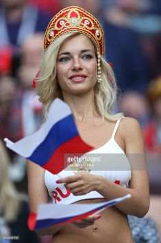 A Russia fan shows her support prior to the 2018 FIFA World Cup Russia Group A match between Russia and Saudi Arabia at Luzhniki Stadium on June 2018 in Moscow, Russia. Hot Football Fans, Football Girls, Girls Soccer, Soccer Fans, Idf Women, Military Women, Hot Fan, Hot Cheerleaders, International Football