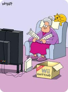 Wii Knitting, with a cat of course!